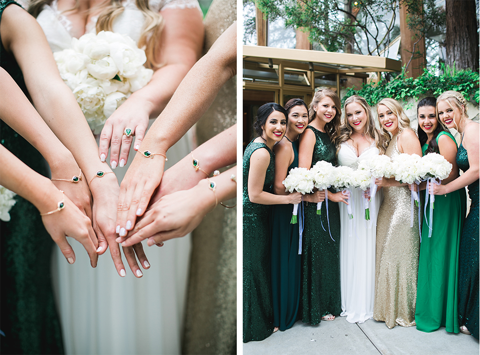 Jessica being the sweet friend that she is gifted each of her bridesmaids with these beautiful emerald gold bracelets.