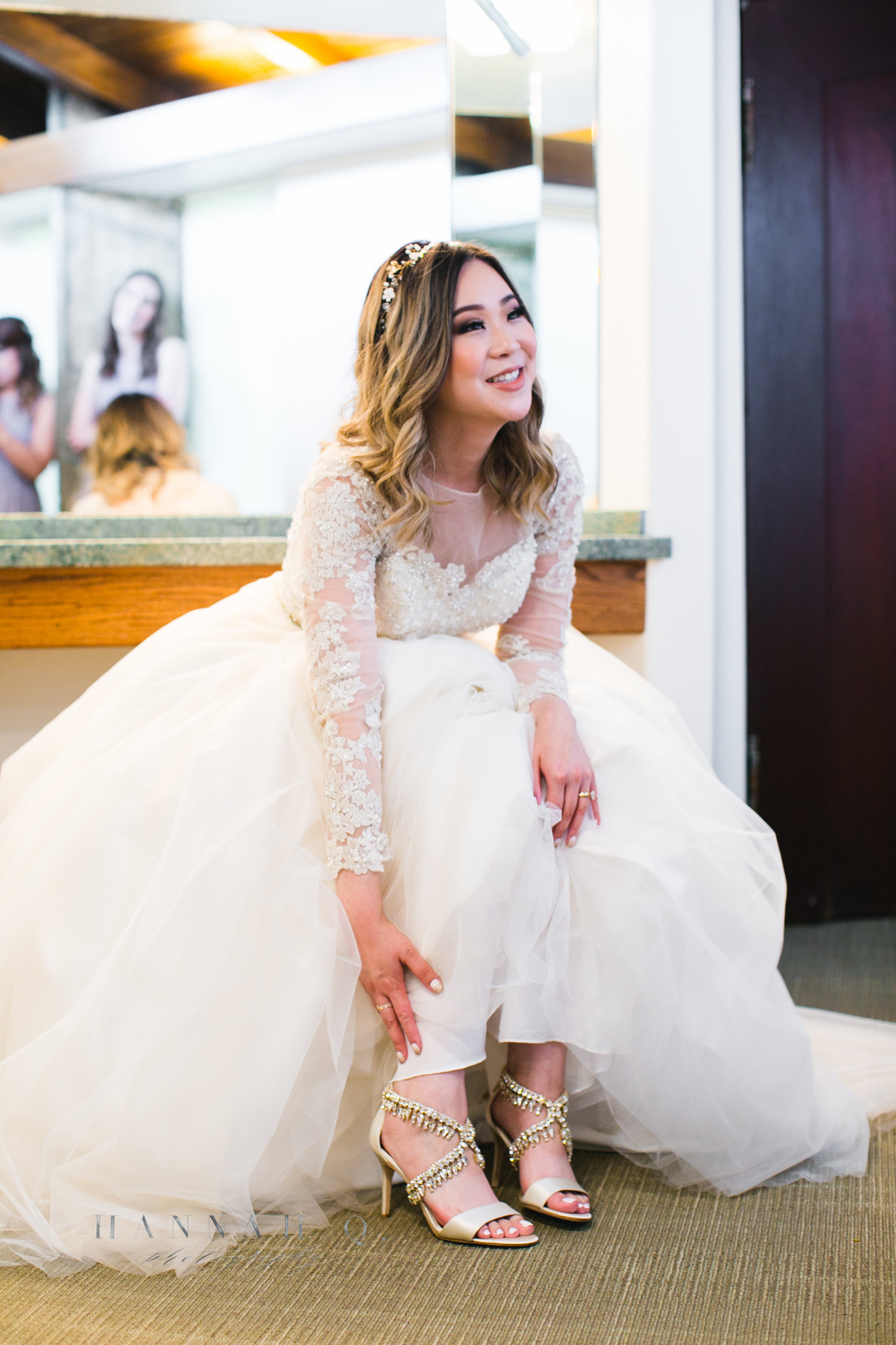 Once the bride and groom completed the majority of their getting ready at Miyako Hotel, we moved to Wayfarer's Chapel. Tara just put on these gorgeous bedazzled shoes in the powder room.