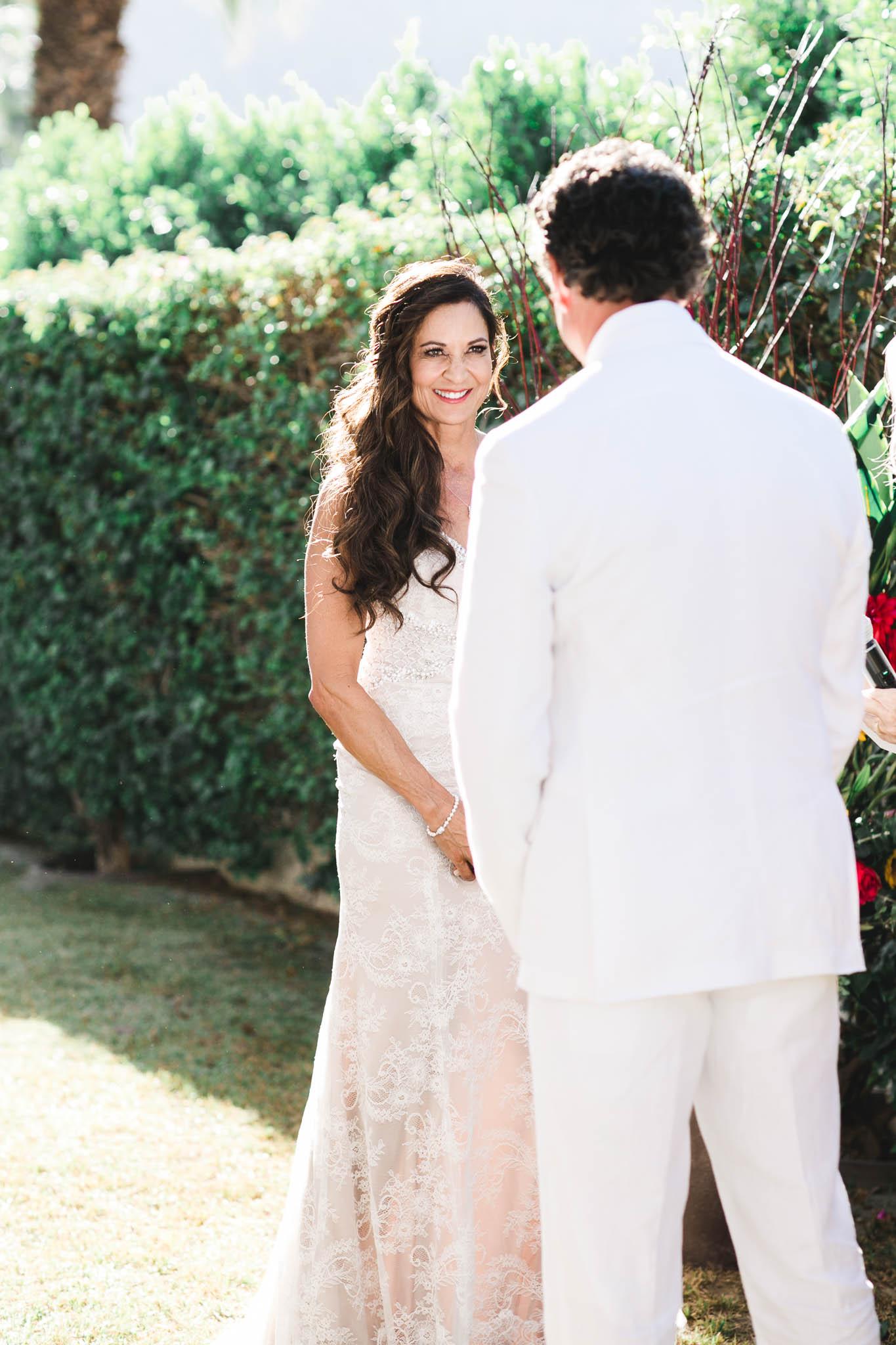 all white desert wedding ceremony