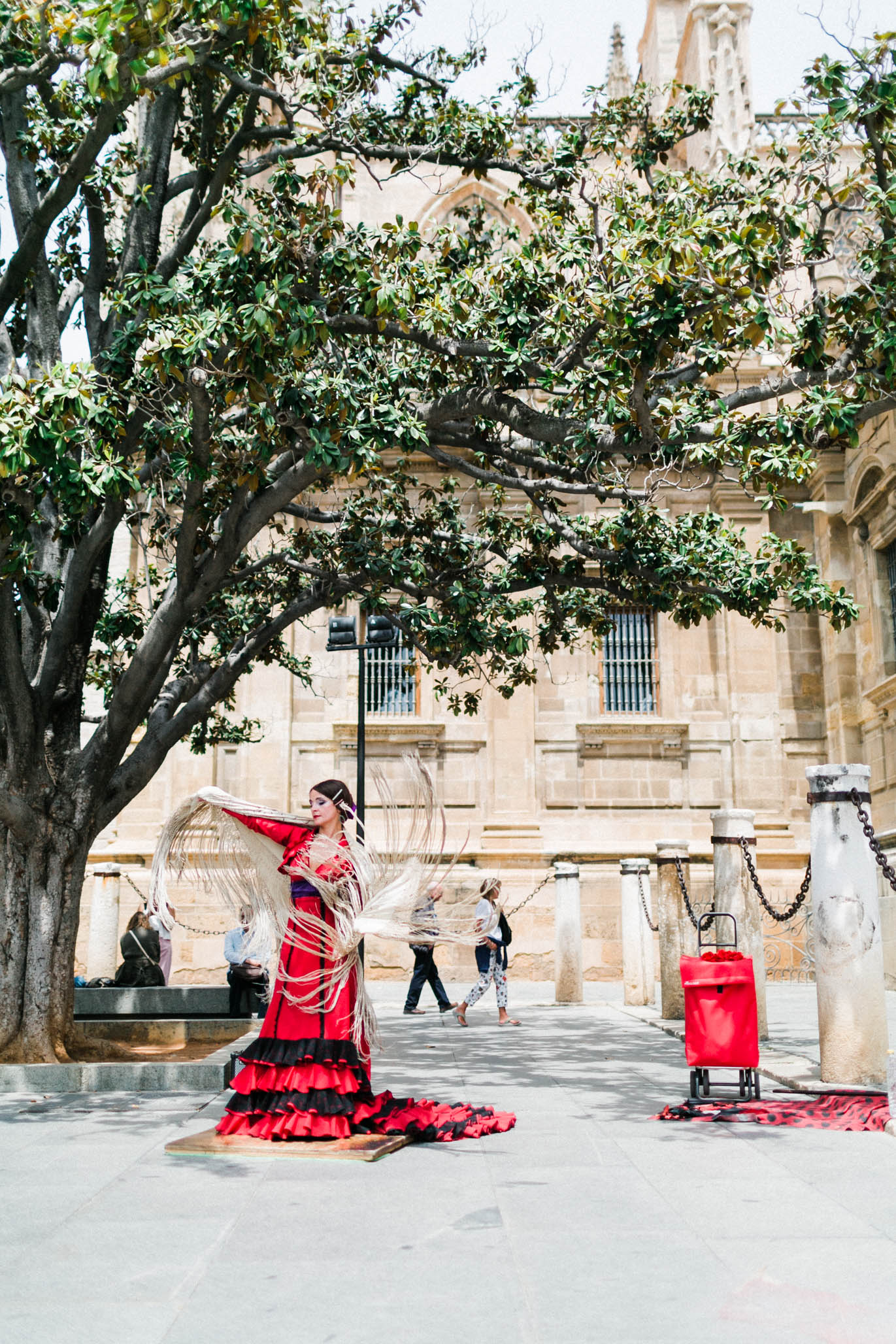 This beautiful woman just casually flamenco dancing on a beautiful corner of the cathedral.  Her moves were  powerful.