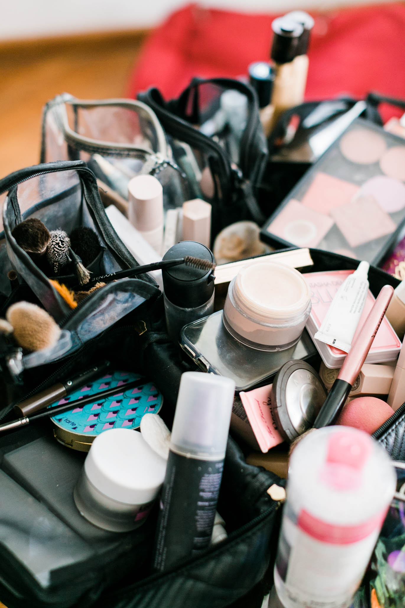 I oddly love photographing make-up bags. It usually gives you an idea of how the day starts.