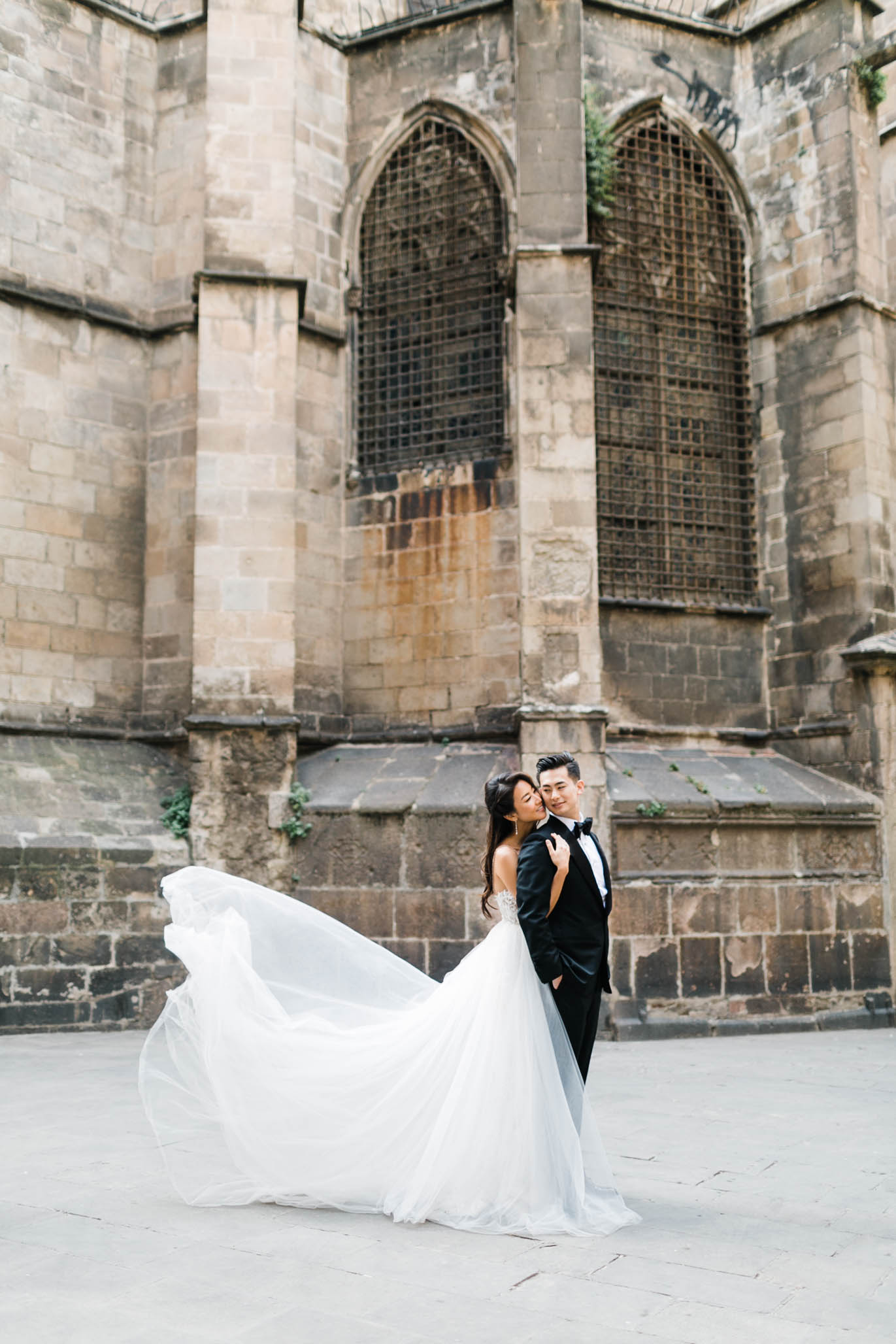 This will forever be imprinted in my dreams. Such a gorgeous shot in front of the Gothic Cathedral in Barcelona.
