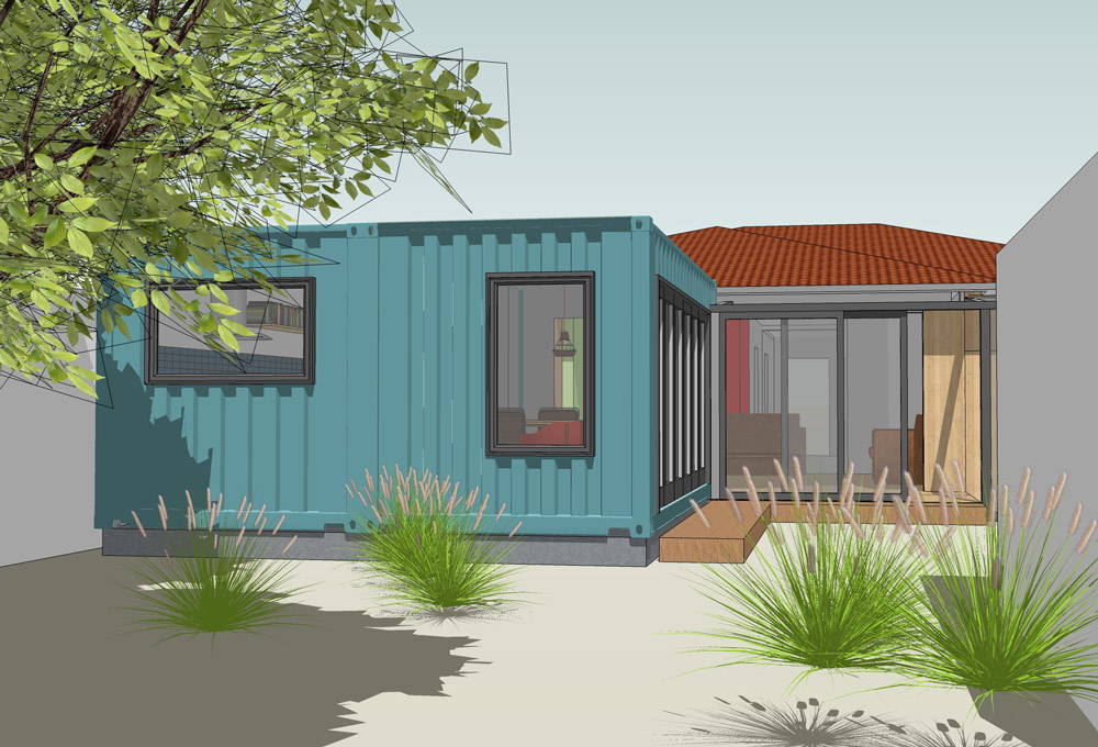 Shipping Container Extension, View from Garden - Here Studio Architects
