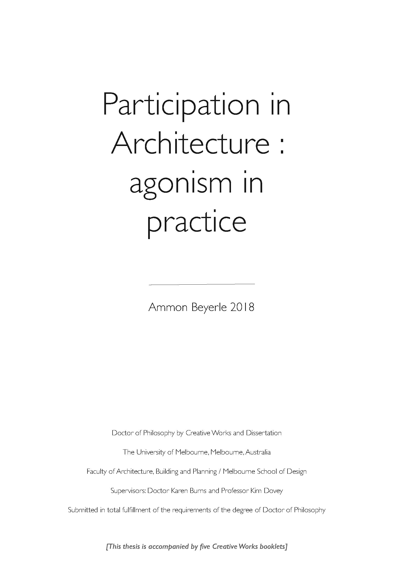 Participation in Architecture – cover page