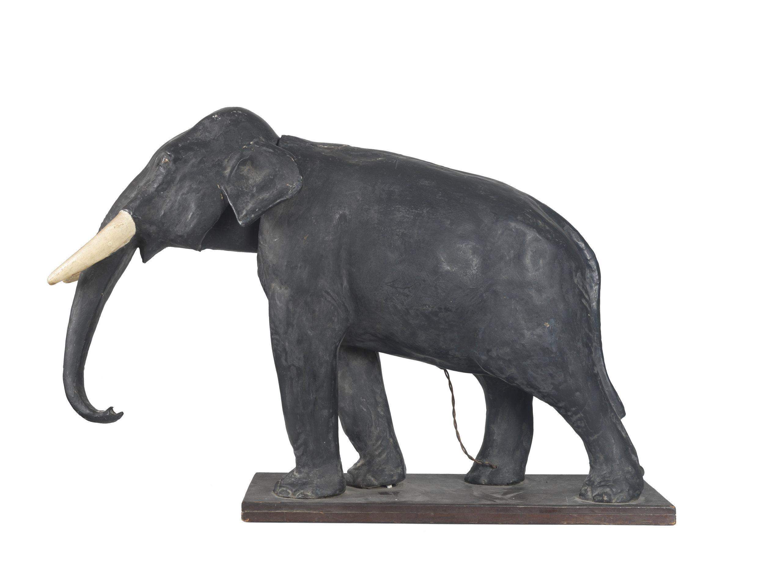 Large papier-mâché 'nodder' elephant automaton c.1900 in original condition.   Dimensions L77cm H48cm W25cm  SOLD.