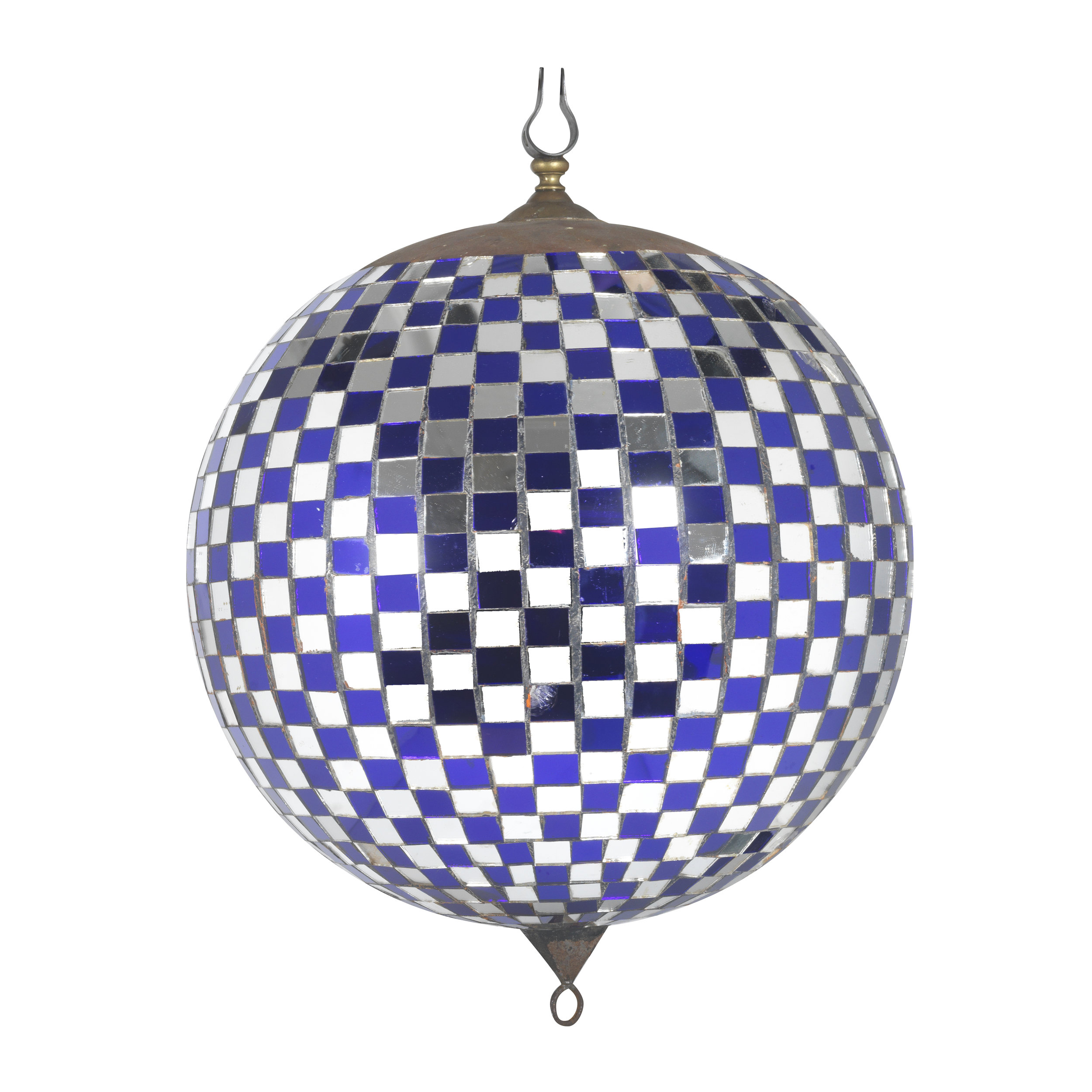 Chequered blue and silver mirrored glass ballroom mirrorball. Early 20th Century, continental.  Diameter 40cm  AVAILABLE