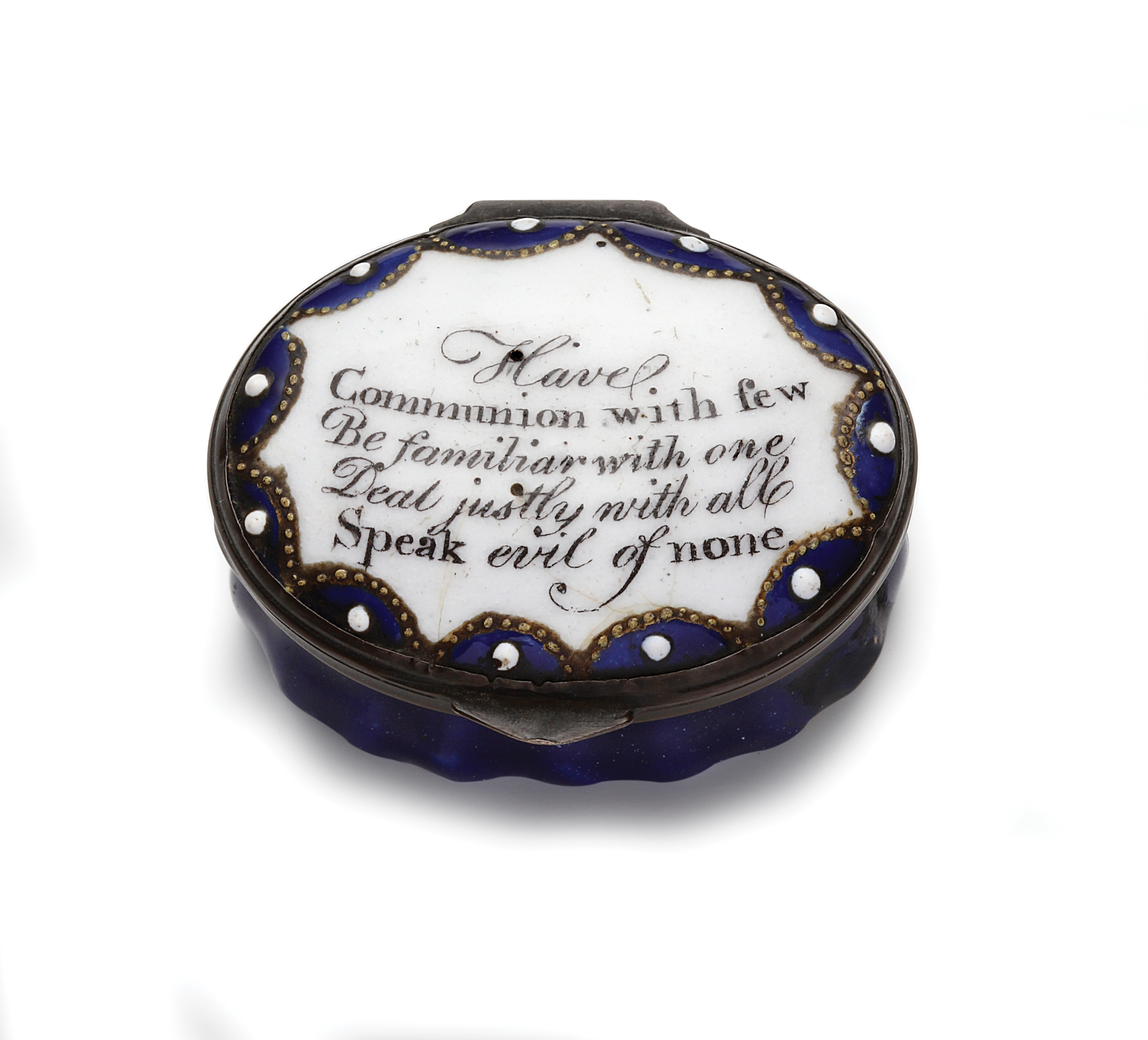 "Charming Battersea Bilston enamel pill box with hinged lid. Enamelled and mirrored interior. The verse reads ""Have communion with few, Be familiar with one, Deal justly with all, Speak evil of none."" Hand painted lace design.  AVAILABLE"