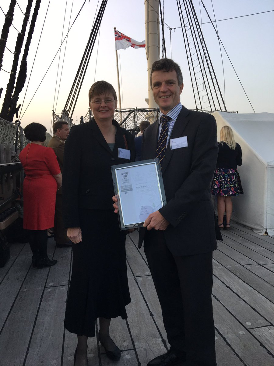 Director of Operations, Theresa Pratt and CEO Craig Fulton on board HMS Victory