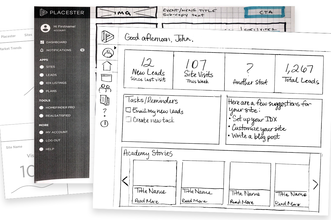 Sketches by other UX team members to provide context.