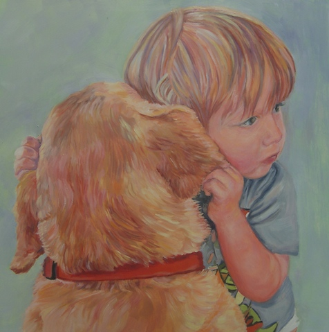 Ari and Rover, 16 x 16 inch, oil on panel