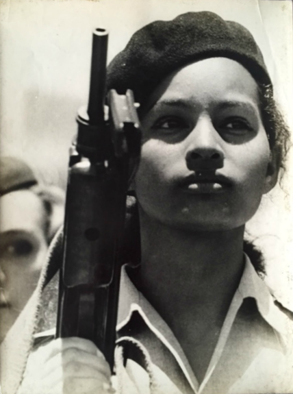 "Alberto Korda (1928-2001)   Miliciana (Militia woman), 1962   Gelatin silver  Paper and image (full bleed), 11 3/4 x 9 1/2""  Korda stamp on lower right (COPYRIGHT KORDA / HAVANA CUBA / K)  Vintage"