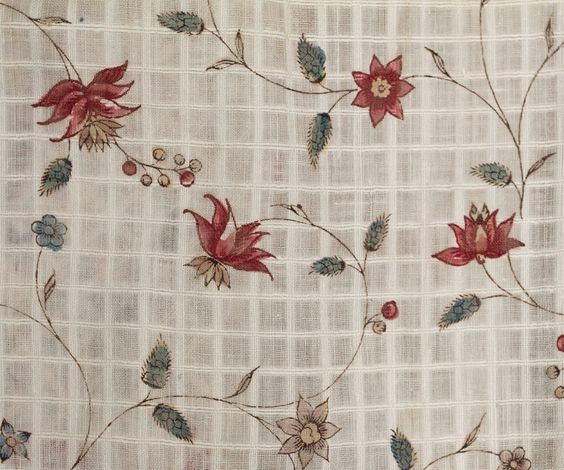 Detail from 18th century dress of printed windowpane dimity. From Vintage Textile, www.vintagetextile.com, via Leslie Andrich on Pinterest