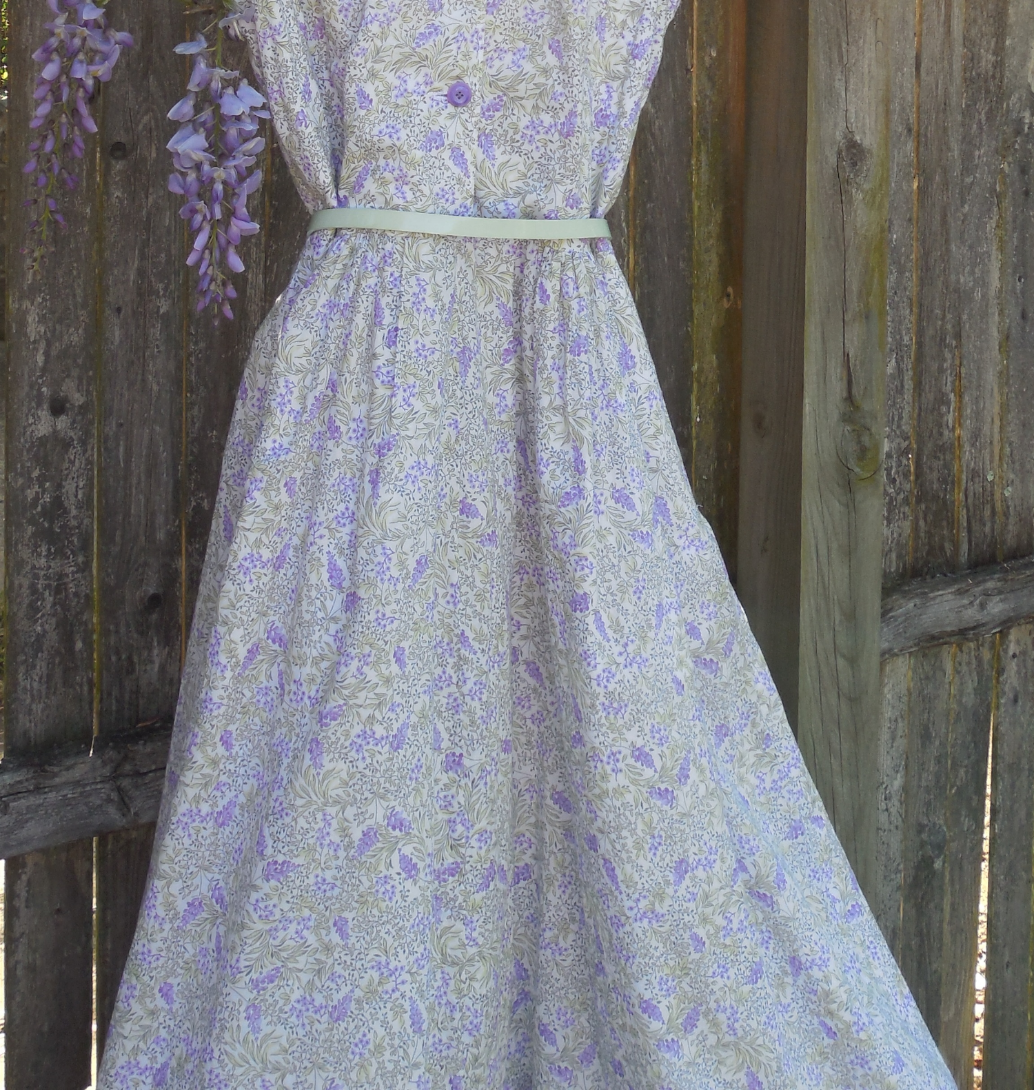 Detail from Anikka Becker  shirtwaist dress in wisteria cotton lawn