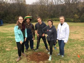 Livable Schools Leadership planting trees.
