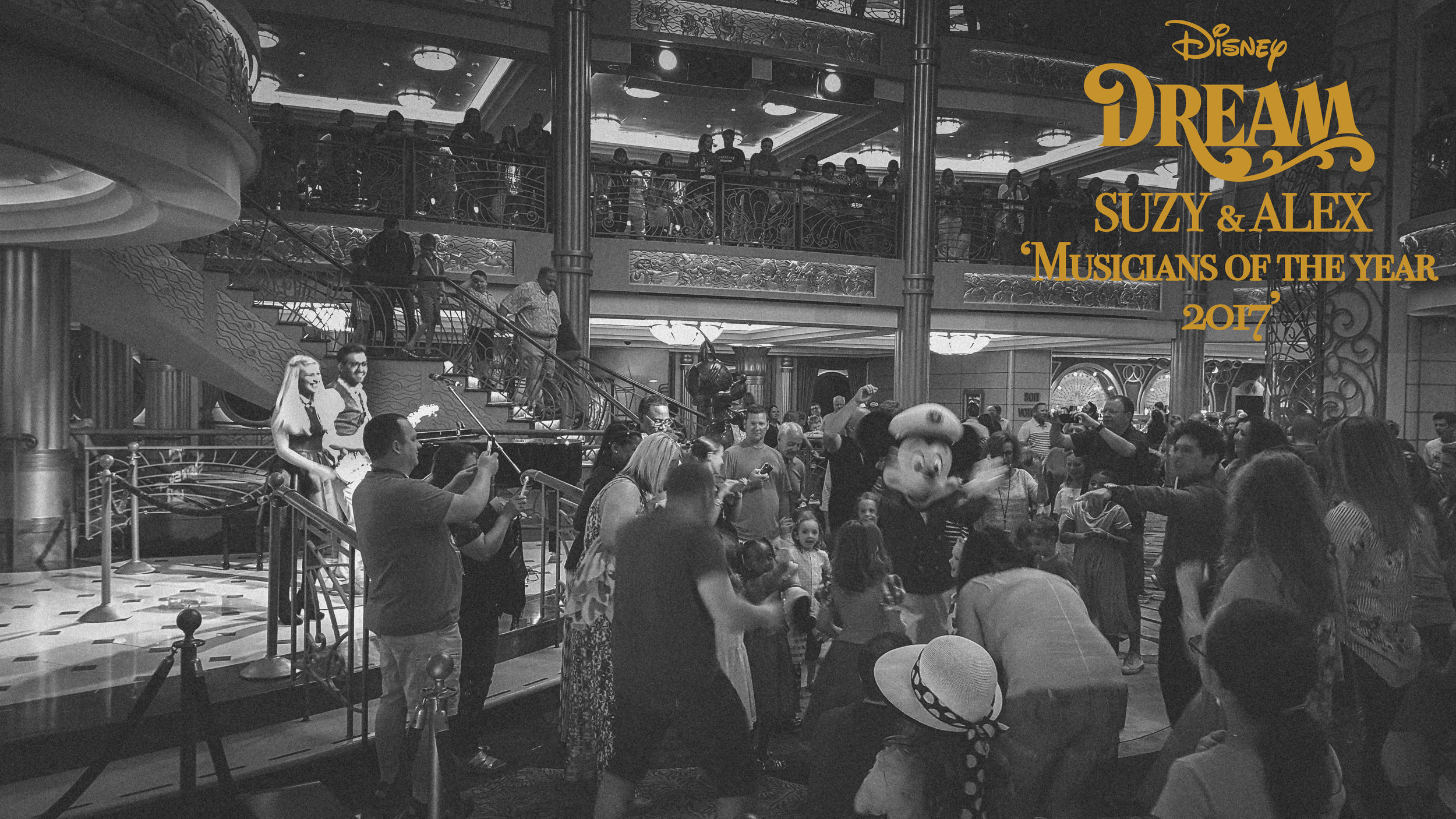 In 2017 we won the Disney Dream's 'musicians of the year' title, as voted for by the crew of the ship. In the photo above we are performing in the lobby atrium for a family dance party.
