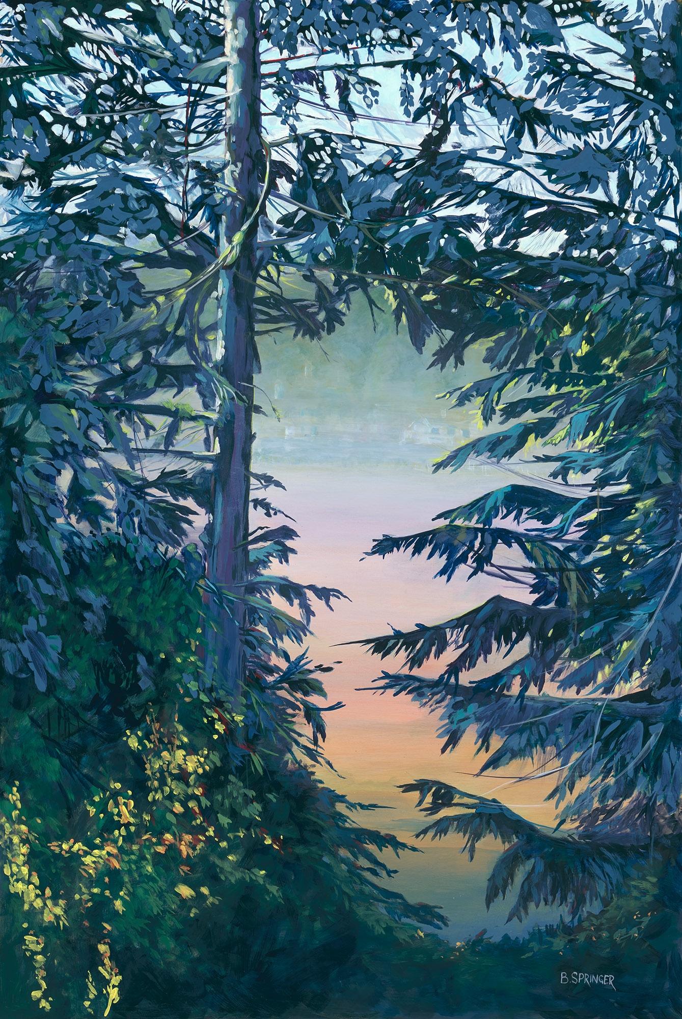 Misty Morning Over Blenkinsop Valley 42 x 29 Acrylic