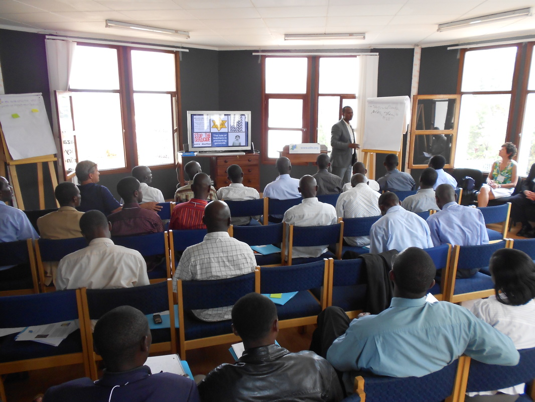 Ernest Mutwarasibo from National University of Rwanda led a session on  the history of the 1994 Genocide Against Tutsi.