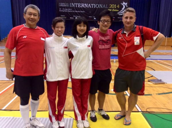At Fencing Singapore International with Dr Lau, Ywen, Ann, David and our National Coach, Coach Andras Decsi.