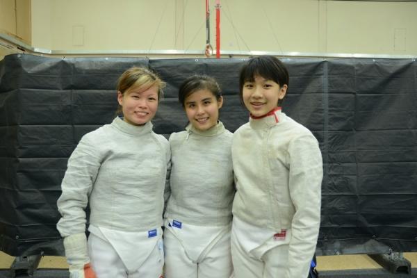 The All-Asgard Singapore Women's Sabre team - Ann, Sharmaine, and Ywen