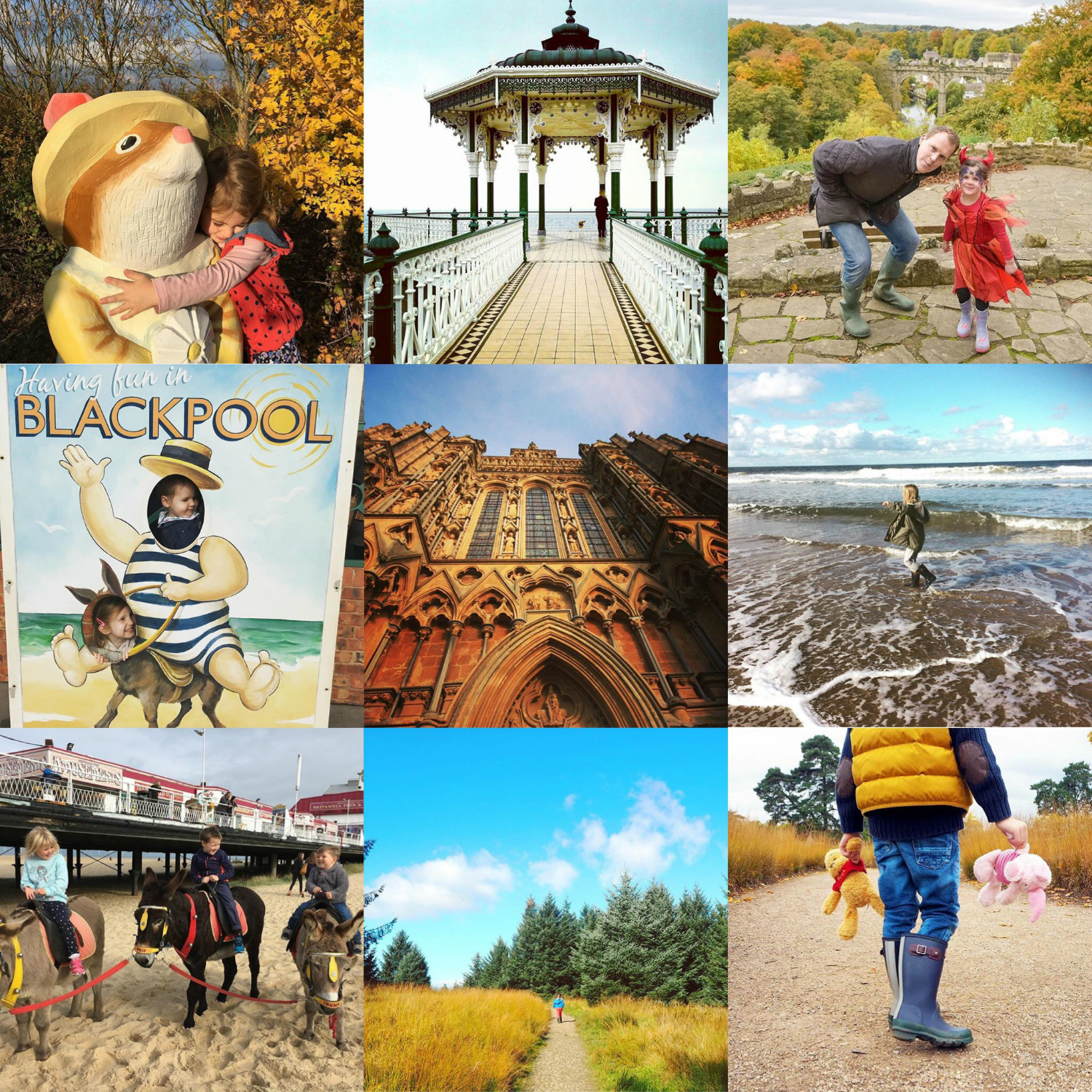 Top L-R:  @hannahisoutside   @brum_bites   @candidlyrhubarb  Middle L-R:  @havekidswilltraveluk   @nicktphotos   @tmkuk  Bottom L-R:  @are_we_nearly_there_yet   @coffeeworksleep   @lifeasourlittlefamily