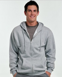 TULTEX 0331 ZIP:   8.0 oz., 80% ringspun cotton / 20% polyester   jersey lined hood