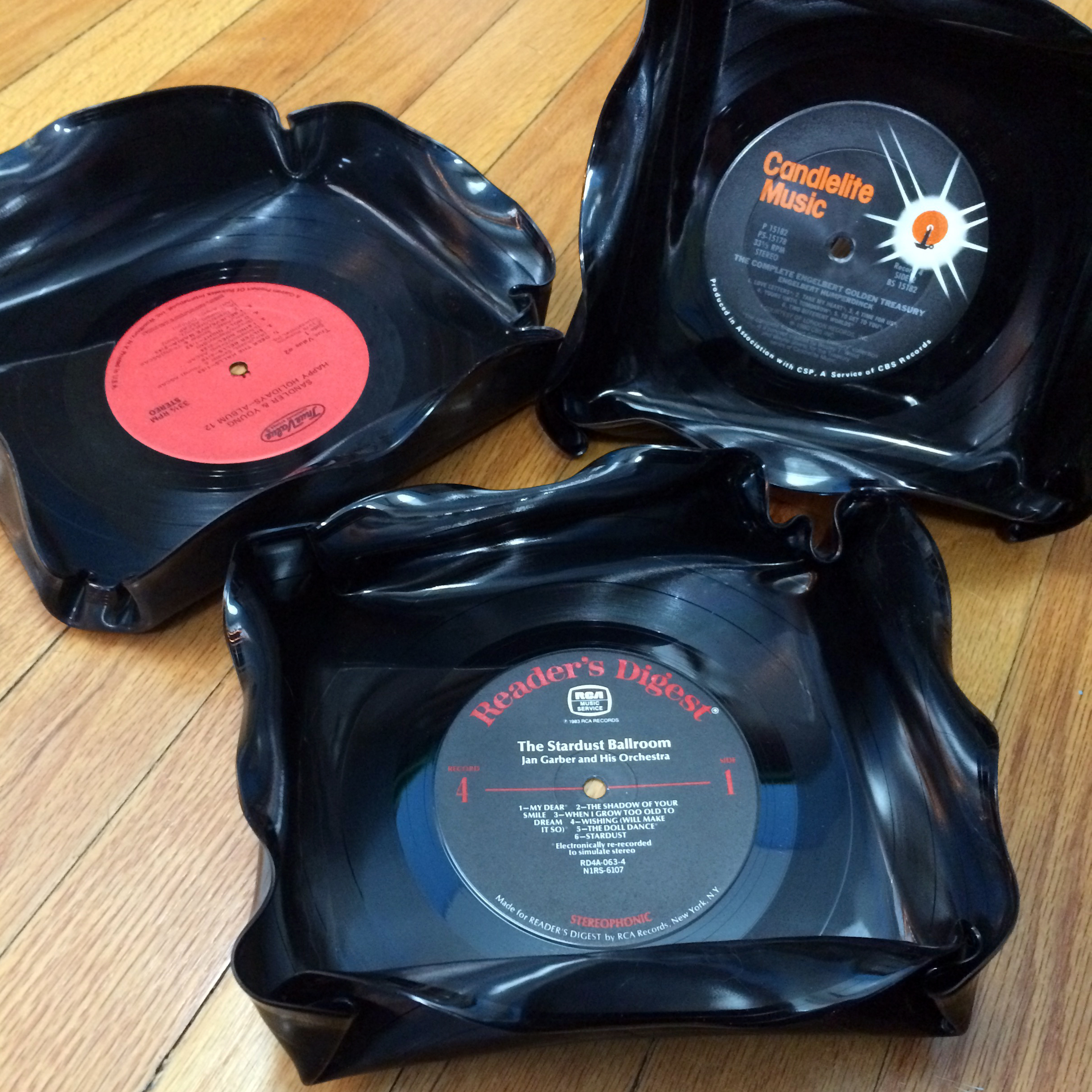 Square LP record catch-all decorative bowls.