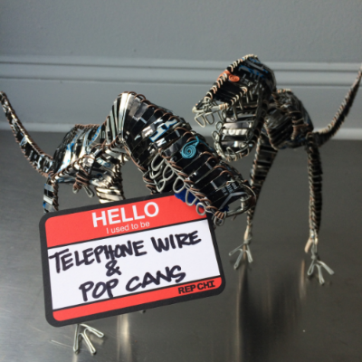 These unique dinosaurs (and other friends) handcrafted from discarded telephone wire and aluminum cans.  Made in Kenya with Fair Trade principals.