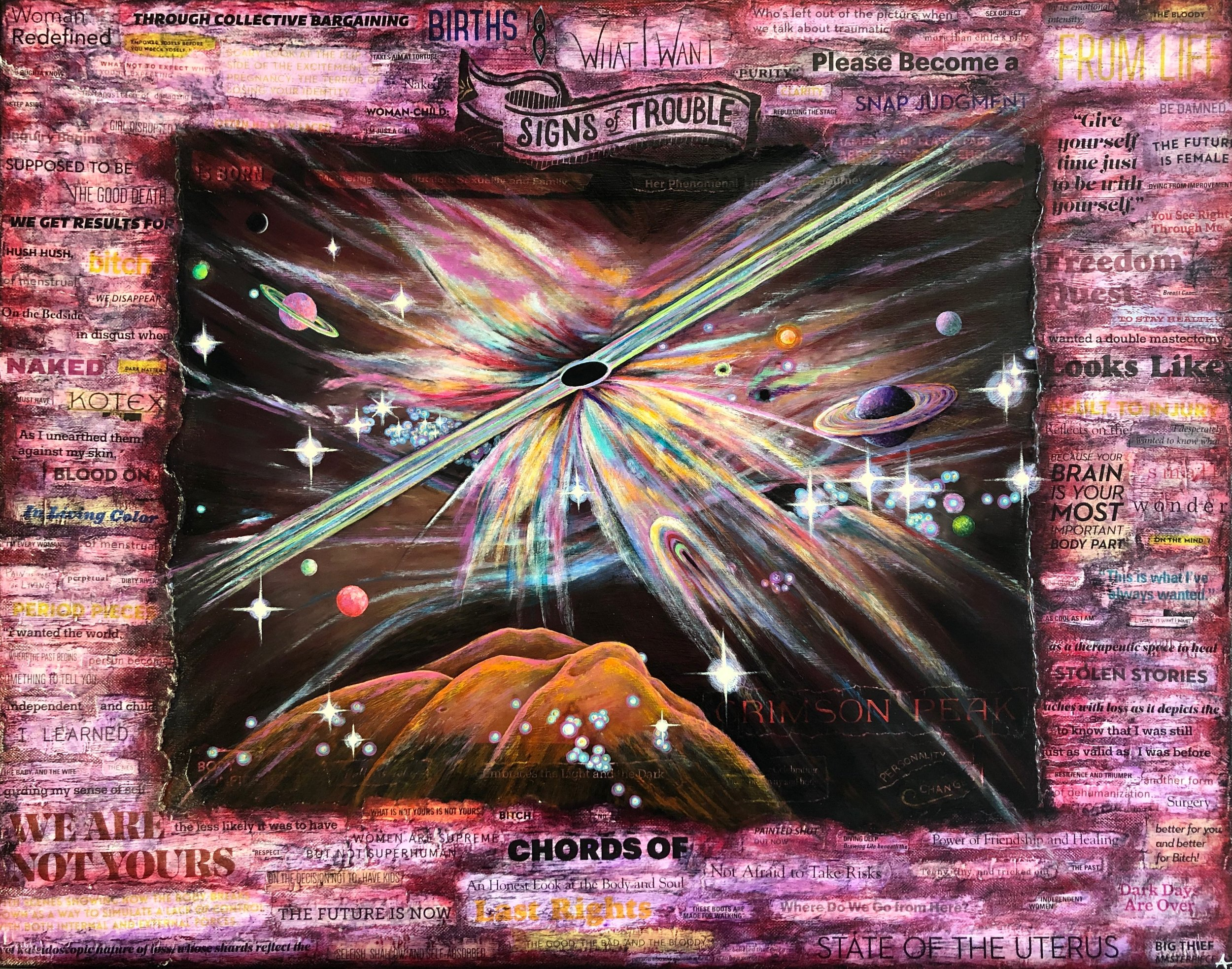 "BLACK HOLES AND NEBULAE: INFINITE POSSIBILITIES  Series: The Sum of My Parts  mixed media on canvas with acrylic, paper and photograph  24""x36""  NFS"