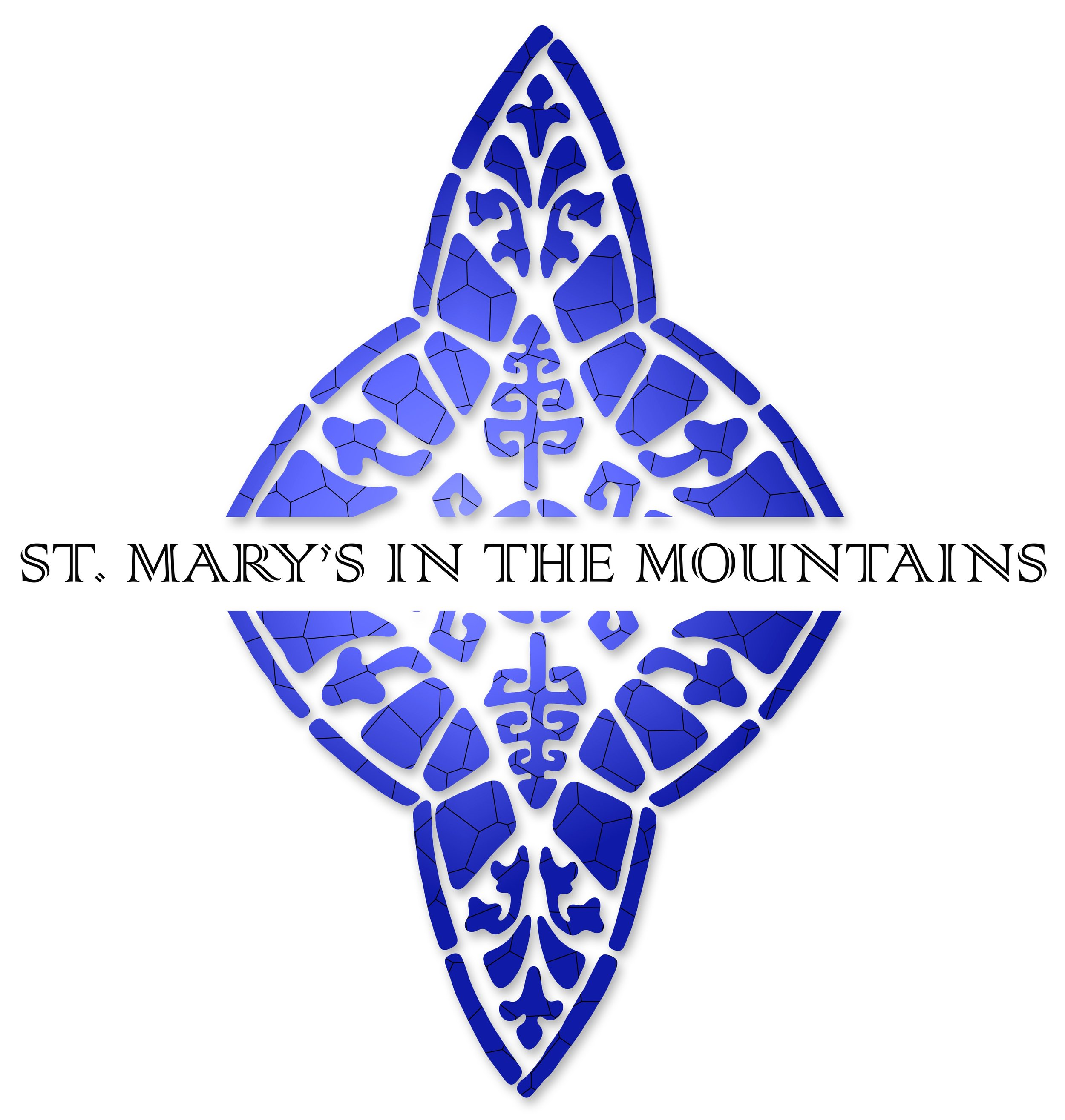 ST. MARY'S IN THE MOUNTAINS CHURCH logo and letterhead branding design for church in Virginia City, Nevada
