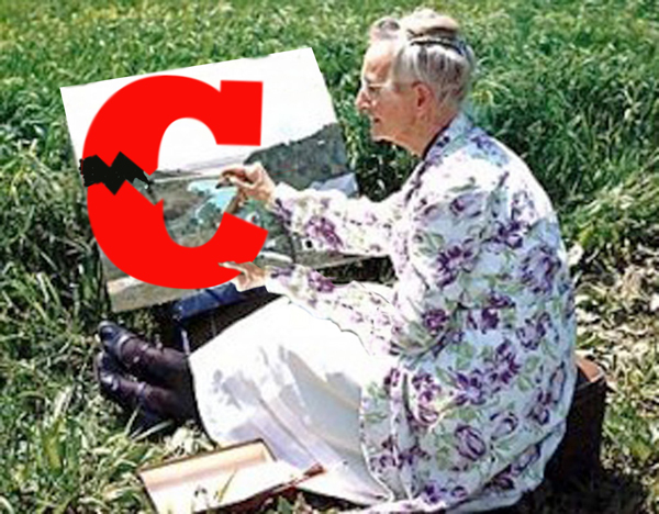 MOSES PARTING THE RED c : Yes, that's famous folk artist grandma moses, using bold black paint strokes to separate a red letter c into two parts