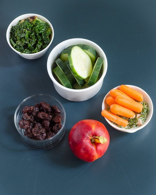 Fruit:  1 nectarine, 1/2 cup dried cherries   Vegetables:  1 cup sliced cucumber, 1/2 cup baby carrots, 1 cup sautéed kale