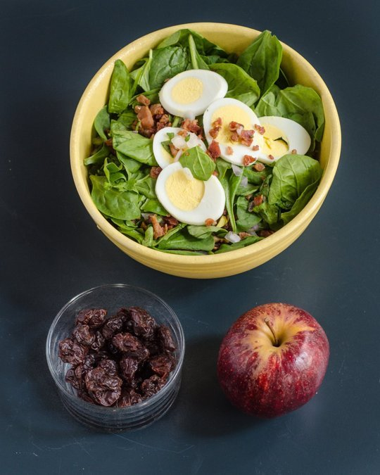 Fruit:  1/2 cup dried cherries, 1 apple   Vegetables:  Large salad with about 5 cups salad greens