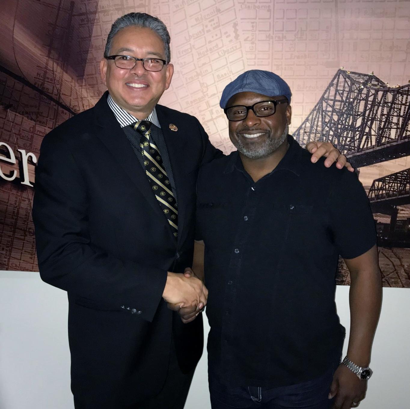 President Rick Gallo of Grambling State University with Pastor Theron Jackson