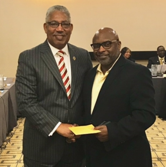 President-Chancellor Ray Belton of Southern University with Pastor Theron Jackson
