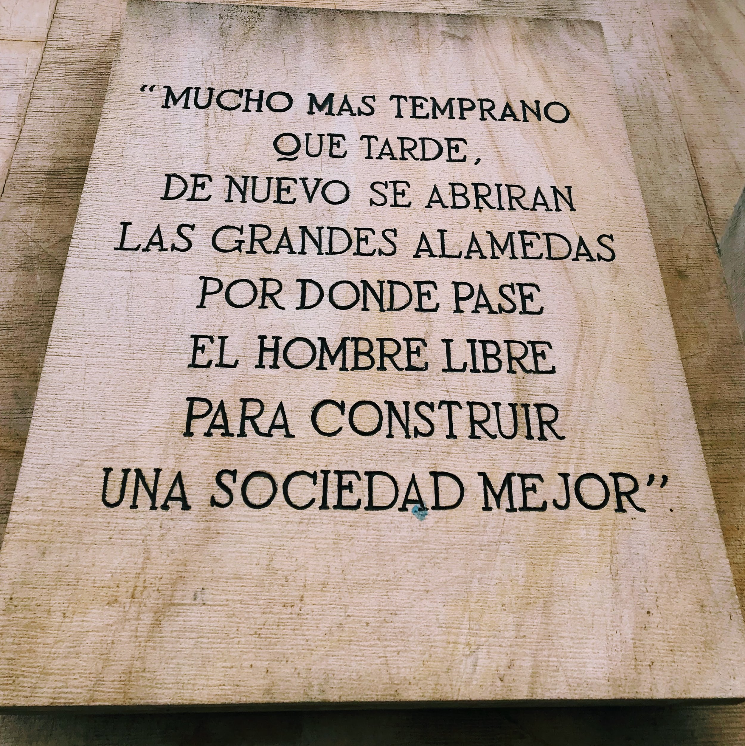 This roughly translates to: Sooner or later, the great avenues will be opened again so that free men can create a better society.