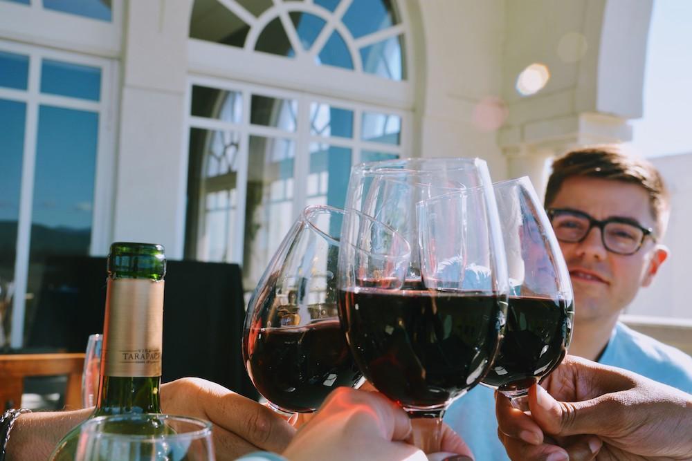 Drinking wine in Casablanca Wine Region in Chile
