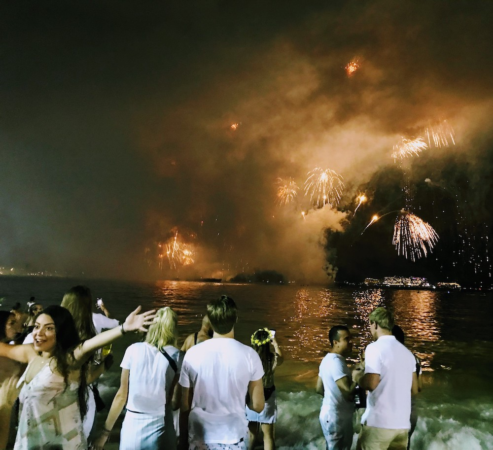 Fireworks for New Year's Eve in Rio de Janeiro, Brazil