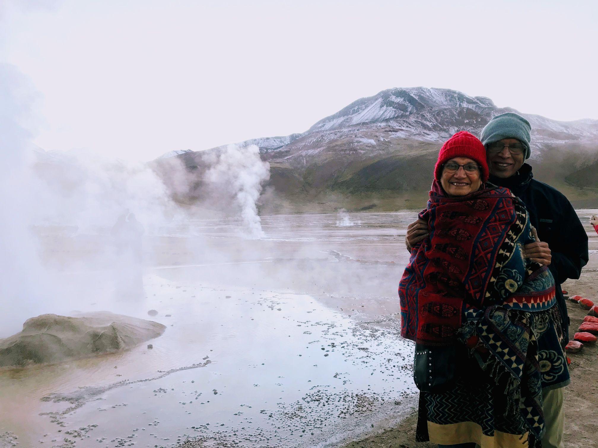 My parents at the Tatio Geysers in Atacama Desert, Chile