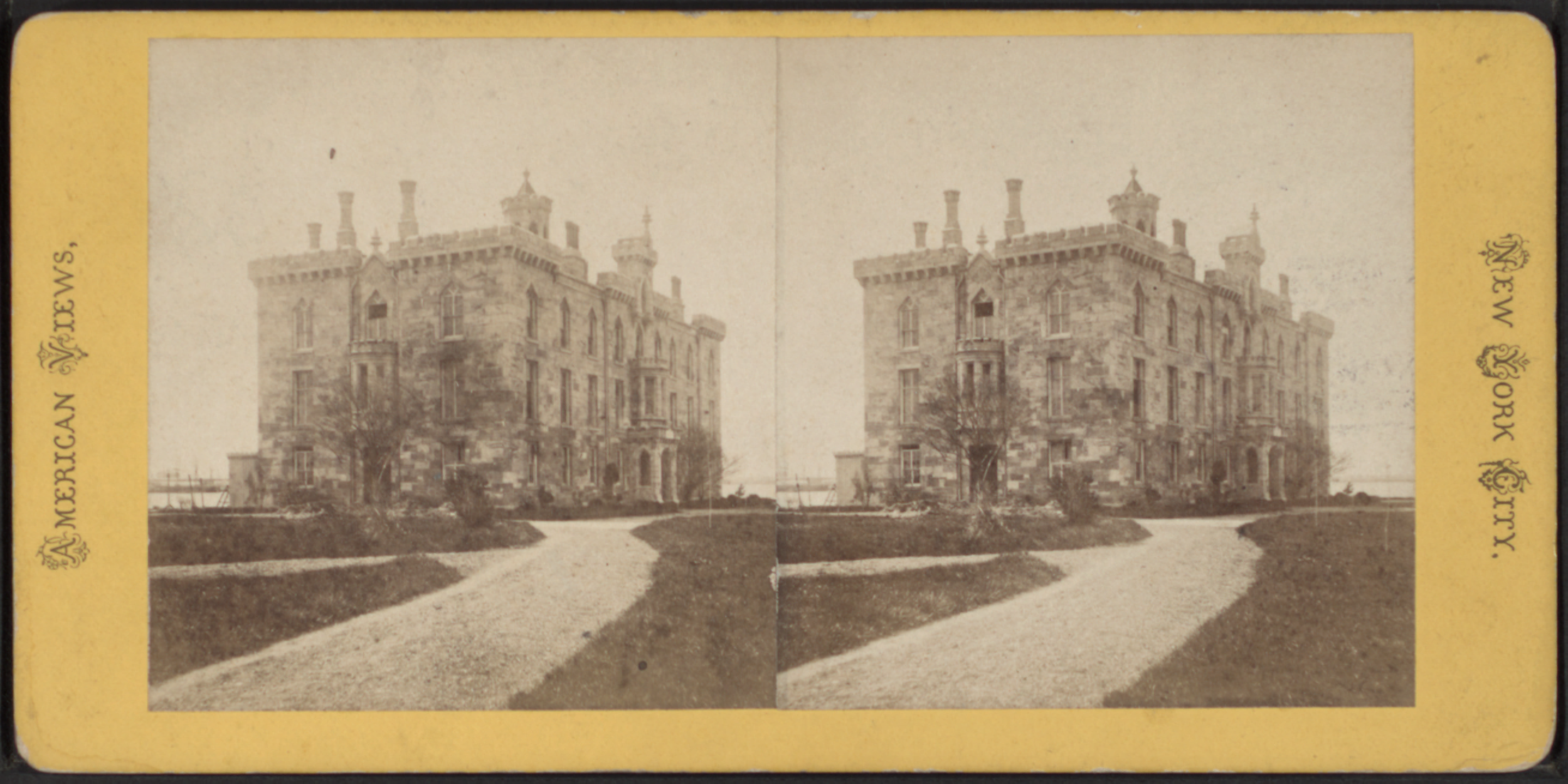 Stereoscopic photograph of the original Smallpox Hospital building