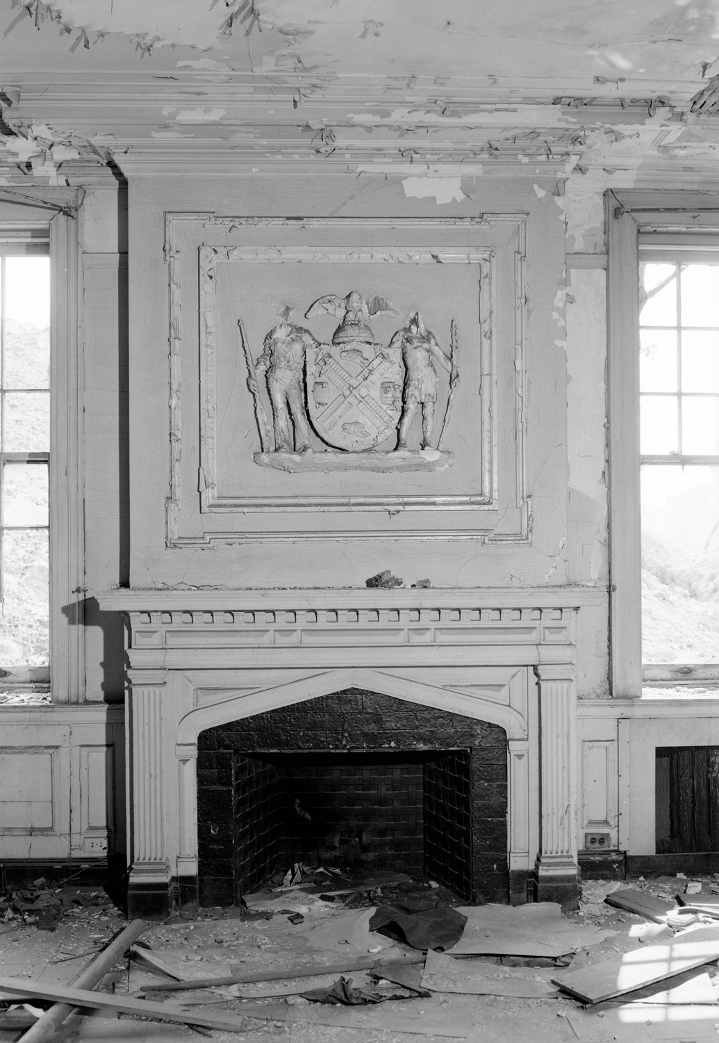 An original fireplace and mantle, the interiors of the building no longer exist, Library of Congress, 1983