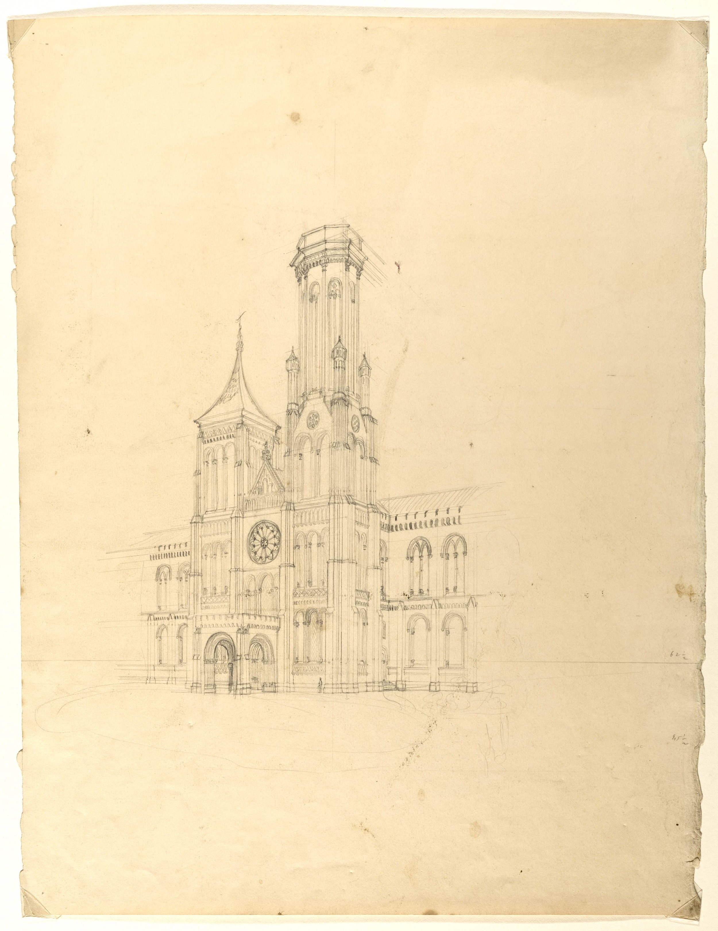 Renwick sketch of the north tower of the Smithsonian Castle, 1846, Smithsonian Institution Archives