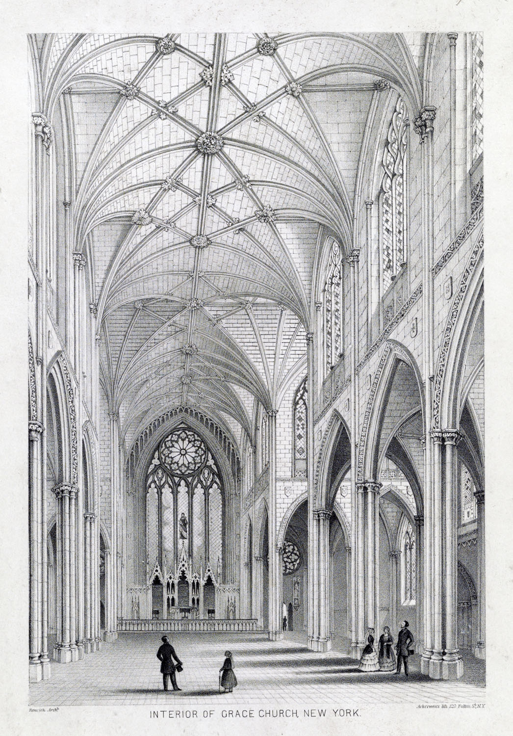 Architectural rendering by Ackerman's of the interior of Grace Church, New York City, Library of Congress