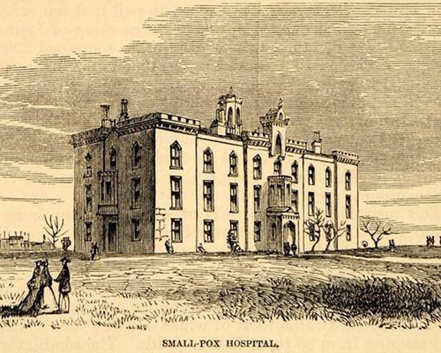 Architectural rendering of the Smallpox Hospital