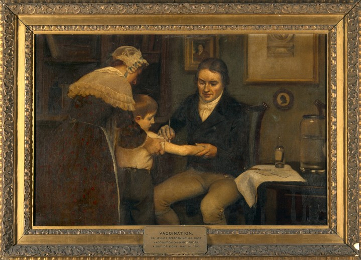 A depiction of Edward Jenner and his early vaccination techniques