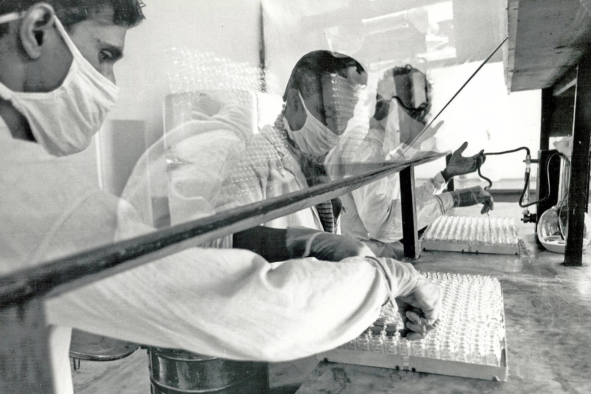 World Health Organization doctors at work on the Smallpox vaccine, World Health Organization