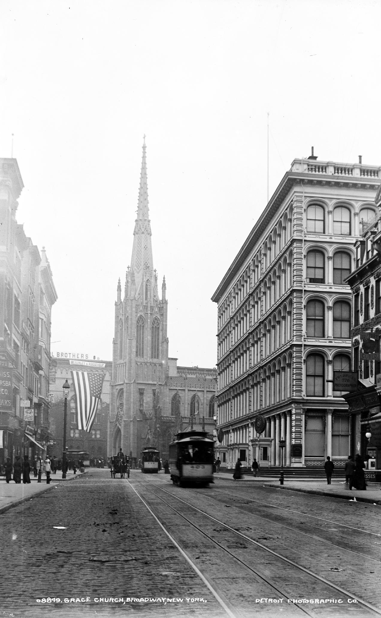 Grace Church is located at Broadway and 10th Street, Manhattan, photo depicts the marble spire, Library of Congress