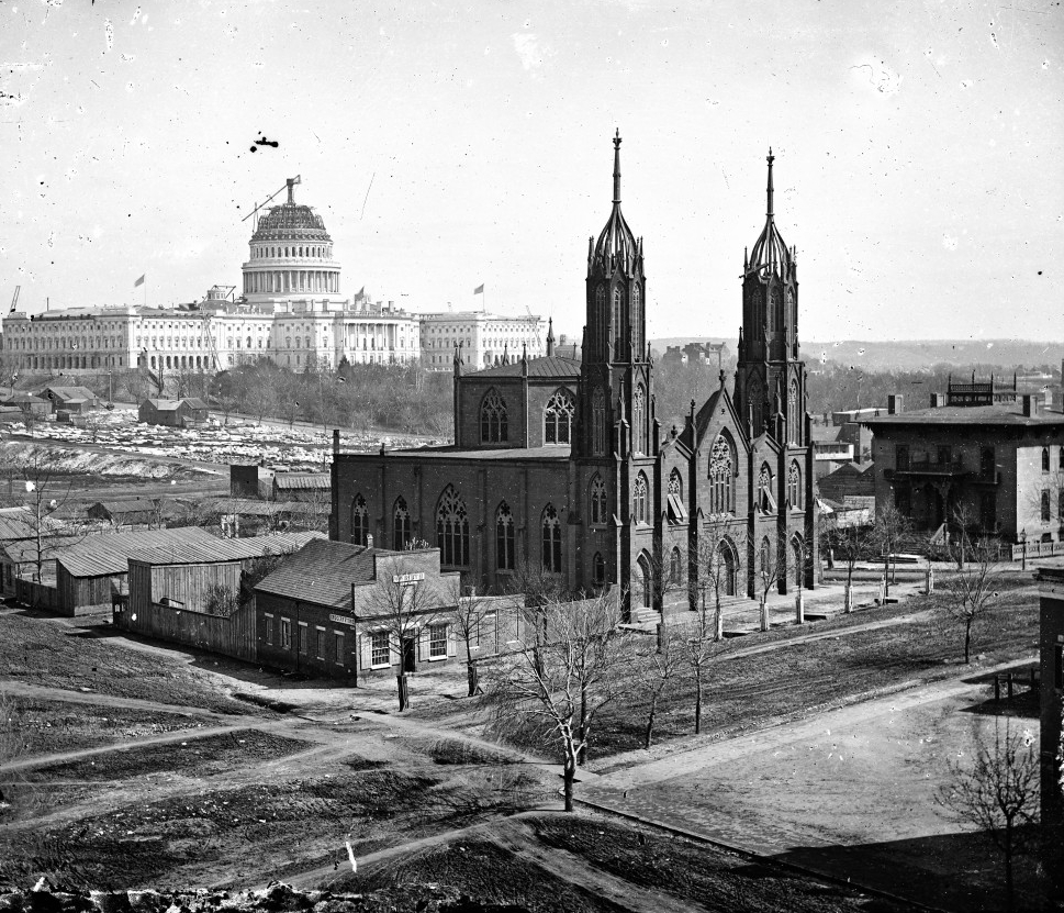 US Capitol under construction and the Trinity Episcopal Church, Library of Congress