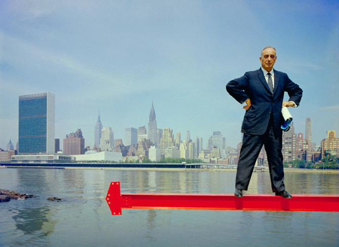 Robert Moses with the United Nations in the background, Arnold Newman Archives