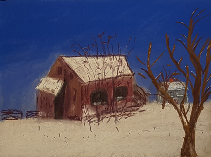 "Barn on I-635   pastel       9"" x 12""  Elaine Mills"