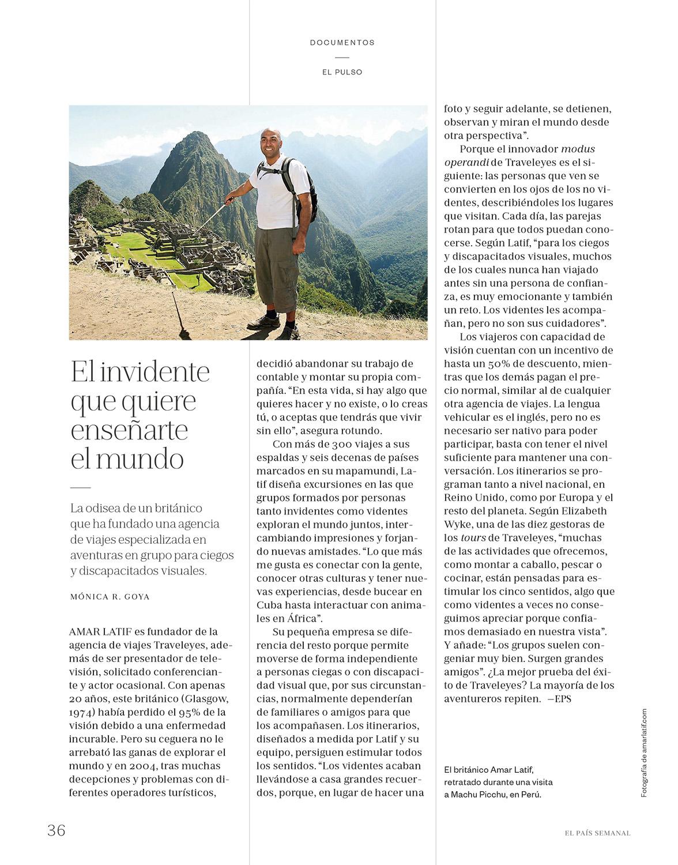 Amar Latif of Traveleyes - El País Semanal 23/09/2017 - Words